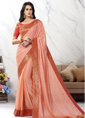 Lace Work Satin Silk Trendy Classic Saree For Festival