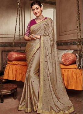 Lace Work Satin Silk Trendy Saree For Party
