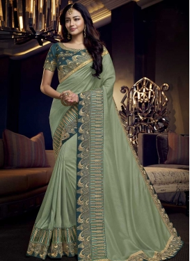 Lace Work Sea Green and Teal Designer Contemporary Saree