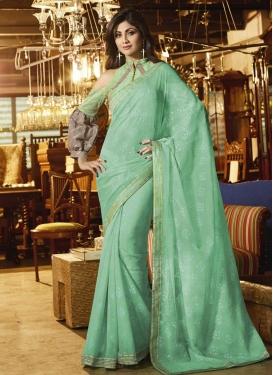 Lace Work Shilpa Shetty Faux Chiffon Designer Contemporary Style Saree