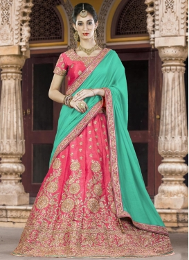 Lace Work Silk A - Line Lehenga
