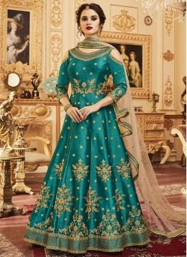 Lace Work Silk Anarkali Salwar Kameez