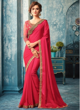 Lace Work Silk Georgette Classic Designer Saree