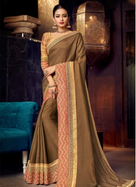 Lace Work Silk Georgette Trendy Saree