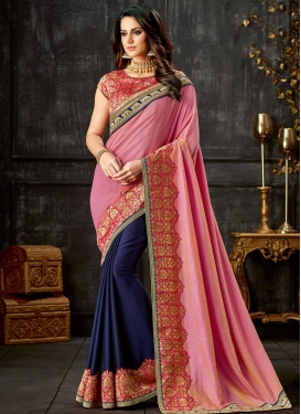 Lace Work Silk Half N Half Designer Saree