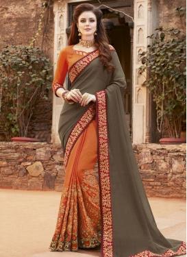 Lace Work Silk Half N Half Saree