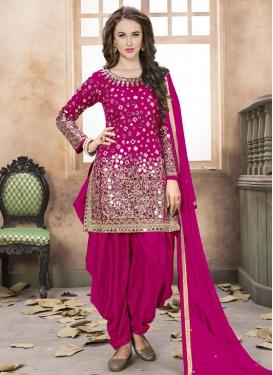 ba03c068a Lace Work Tafeta Silk Designer Semi Patiala Salwar Suit