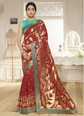 Lace Work Traditional Saree For Ceremonial