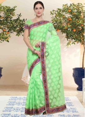 Lace Work Trendy Classic Saree For Casual
