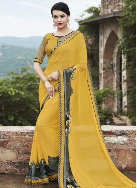 Lace Work Yellow Faux Georgette Classic Saree For Festival