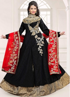 Latest Embroidered Work Bhagalpuri Silk Kameez Style Lehenga