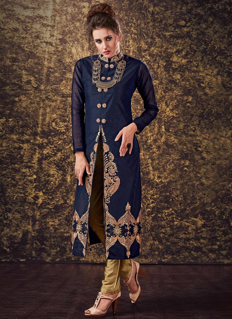 38a9e9f4df Latest Embroidered Work Brown and Navy Blue Art Silk Readymade Designer Suit