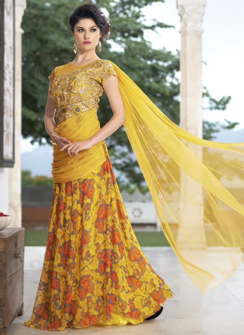 Latest Embroidery Work Designer Readymade Gown