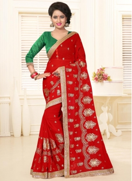 Latest Faux Georgette Booti Work Traditional Saree For Ceremonial