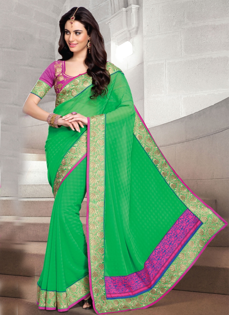 Latest Patch Enhanced Chiffon Party Wear Saree