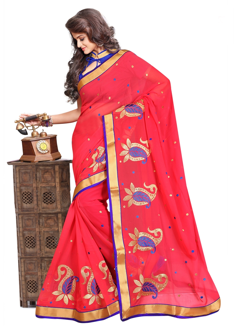 Latest Resham And Lace Work Casual Saree