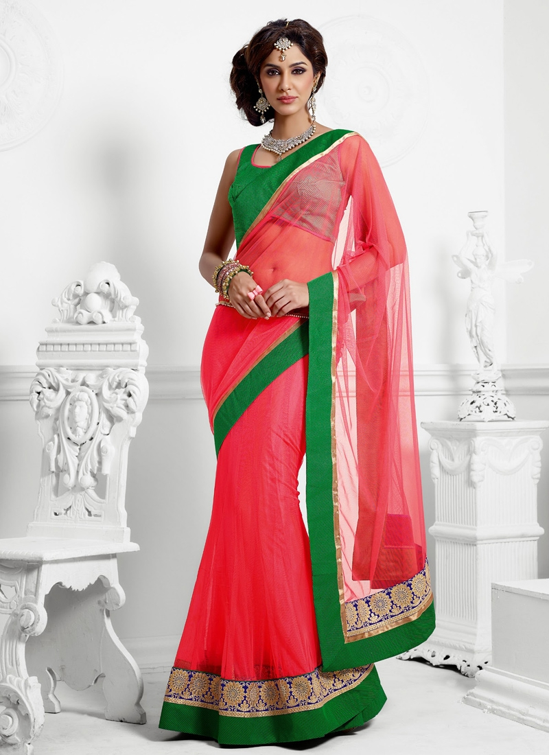 Latest Salmon And Green Net Lehenga Saree