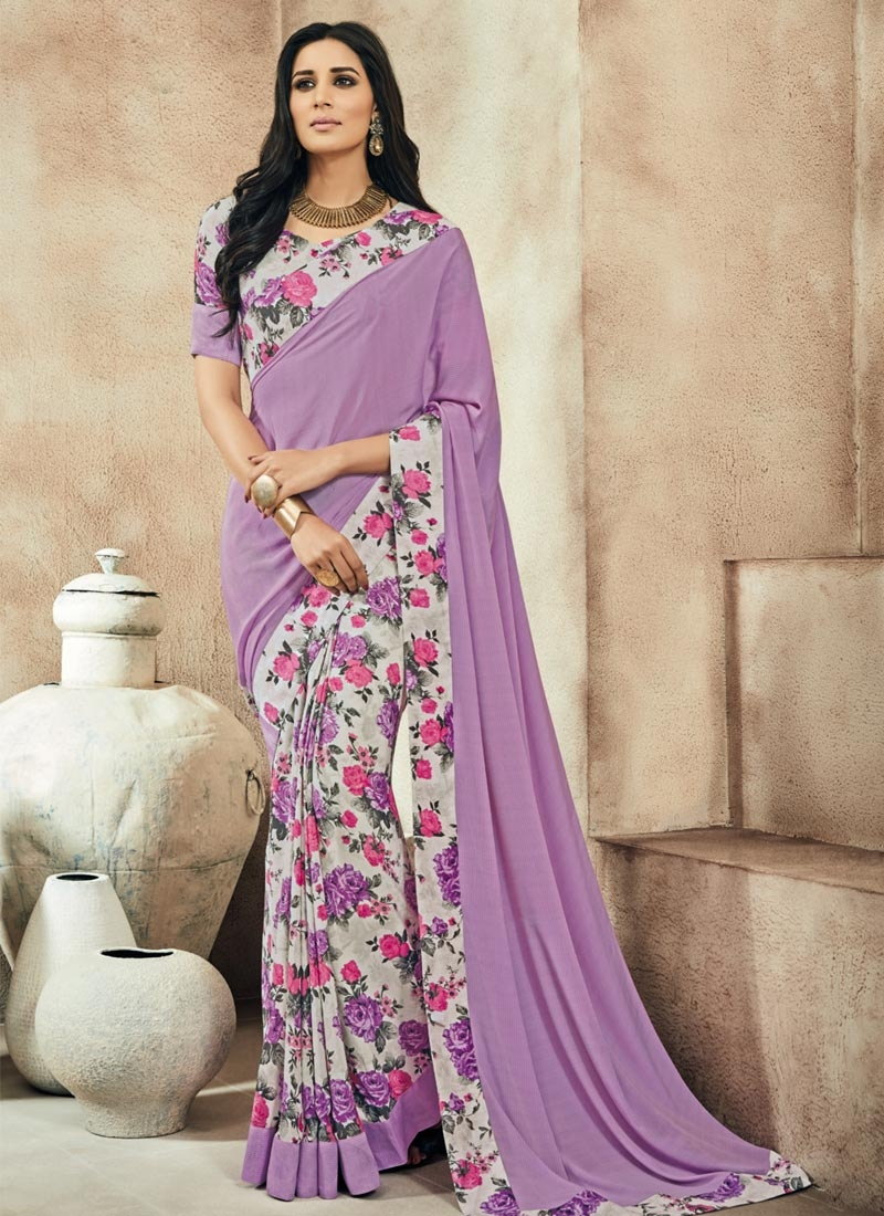 b09accd3c38 Lavender and Off White Crepe Silk Half N Half Trendy Saree For Ceremonial