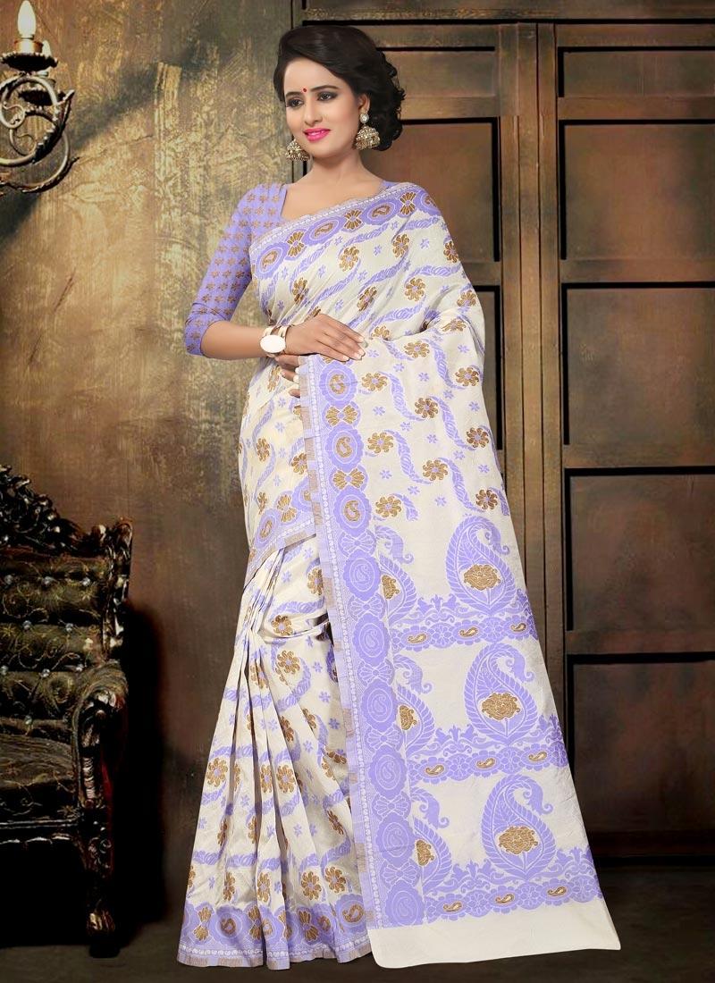 de49d9afa6d Lavender and Off White Trendy Classic Saree For Festival
