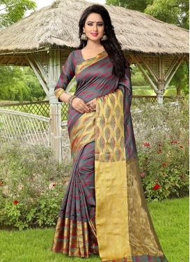 Lavish  Coffee Brown and Gold Thread Work Contemporary Saree