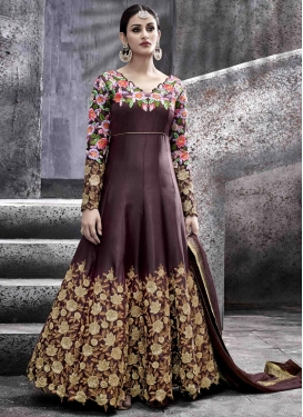 Lavish Embroidered Work Tafeta Silk Floor Length Anarkali Salwar Suit