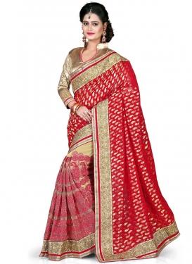 Lavish Embroidery Work Net Half N Half Wedding Saree