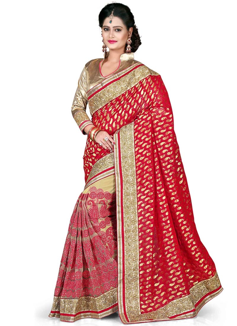 Lavish Embroidery Work Net Half N Half Wedding Saree