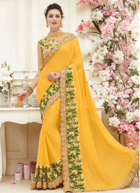 Lavish Faux Georgette Embroidered Work Designer Contemporary Saree
