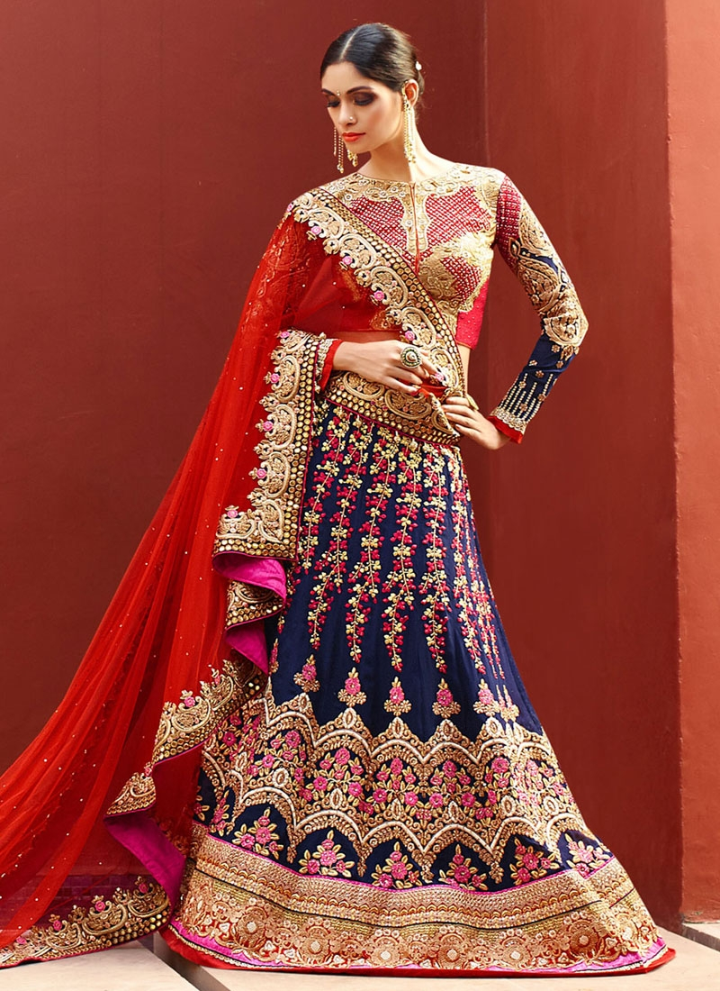 Lavish Navy Blue Color Art Silk Bridal Lehenga Choli