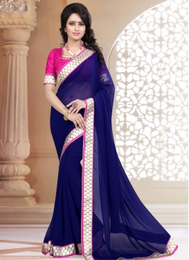 Lavish Navy Blue Color Faux Georgette Casual Saree