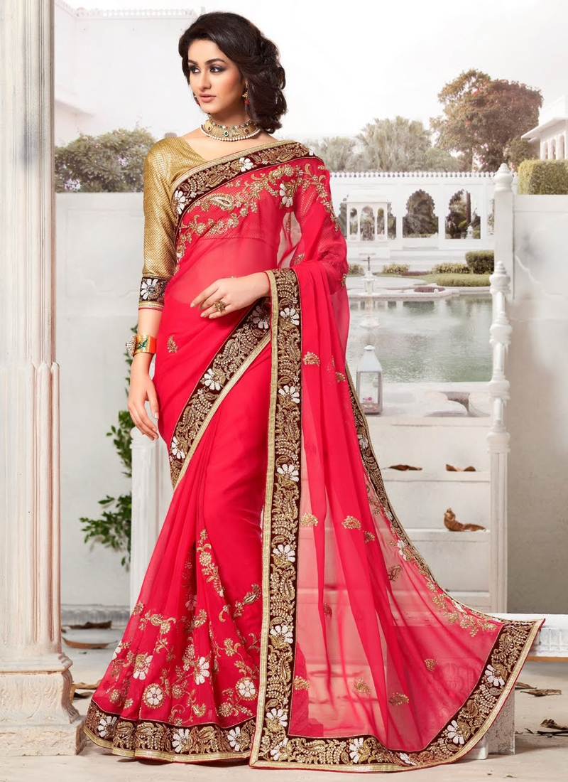 Lavish Red Color Pure Georgette Wedding Saree
