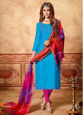 Light Blue and Magenta Beads Work Trendy Churidar Salwar Kameez