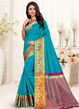Light Blue and Magenta Cotton Silk Traditional Saree