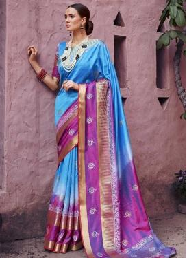 Light Blue and Magenta Thread Work Contemporary Style Saree