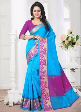 Light Blue and Magenta Thread Work Trendy Classic Saree