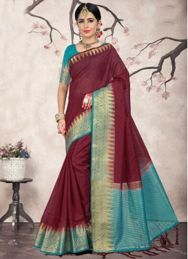 Light Blue and Maroon Jacquard Silk Trendy Saree