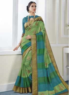 Light Blue and Mint Green Art Silk Contemporary Style Saree