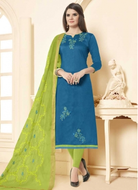Light Blue and Mint Green Beads Work Trendy Churidar Suit