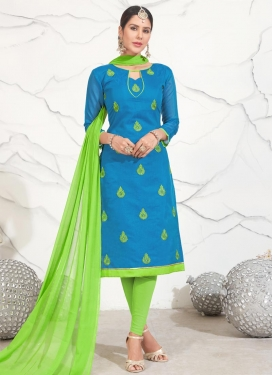 Light Blue and Mint Green Chanderi Cotton Trendy Straight Salwar Suit