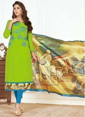 Light Blue and Mint Green Churidar Salwar Kameez For Casual