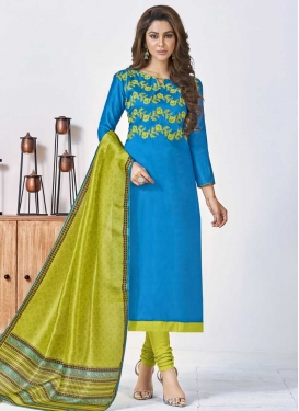 Light Blue and Mint Green Churidar Salwar Kameez For Casual
