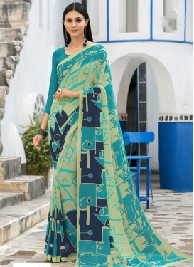 Light Blue and Mint Green Contemporary Saree For Casual