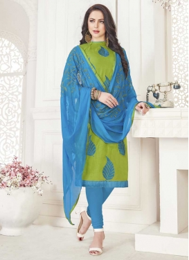 Light Blue and Mint Green Cotton Trendy Churidar Salwar Suit