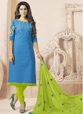 Light Blue and Mint Green Cotton Trendy Churidar Suit