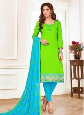 Light Blue and Mint Green Cotton Trendy Straight Salwar Suit