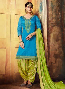 Light Blue and Mint Green Designer Patiala Suit