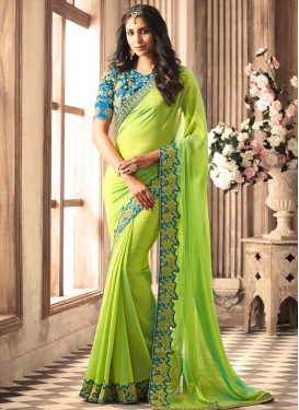 Light Blue and Mint Green Embroidered Work Classic Designer Saree