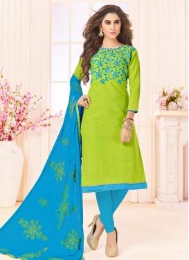 Light Blue and Mint Green Embroidered Work Straight Salwar Kameez