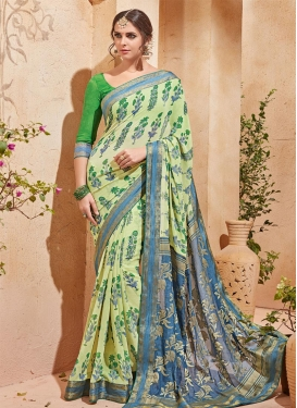 Light Blue and Mint Green Traditional Saree