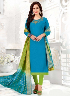 Light Blue and Mint Green Trendy Churidar Salwar Kameez